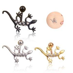 2017 Metal Lizard Bell Button Кольца Пирсинг Vintage ювелирные изделия Перегородка Бикини Женщины Девушки живота Pin Bijoux Punk Пирсинг