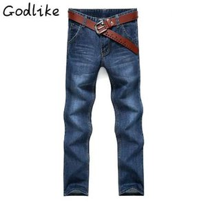 GODLIKE 2018Fashion casual men's spring new slim jeans in spring. Men's cotton straight tube blue jeans.
