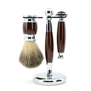 ZY Men Set da barba Regolabile Double Edge Blade Razor Pure Badger Beard Brush Stand Holder Safety Razor Shave Kit gratuito 10 lame