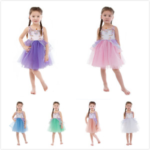 INS Hot Unicorn Girls encaje de alta calidad Eugenia Tutu princesa vestido bordado de flores Botique vestido 7 colores para 2M-16T niñas