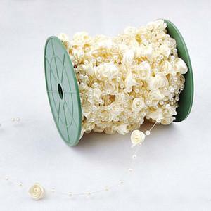 Nouveau design 30M / lot 4 couleurs Vaporiser Bouquet de 4 mm artificielle Mini résine Pearl, 12MM ruban satin Roses Faux décoration pour la maison de mariage