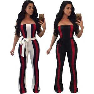 2018 Sexy Strapless Women's Jumpsuits and Rompers,With Sashes Beauty,Striped Printing Nice,Two Colours Choose