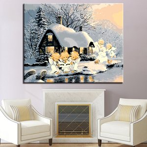Painting By Numbers Kits Forest Snow House Oil Paints Acrylic Cnavas Home Bedroom Wall Artcraft Picture