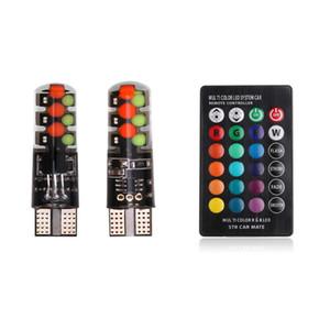 W5W T10 автомобилей Led RGB COB клиренс огни красочные мульти режим автомобиля вспышки/строб лампы лампа для чтения с пульта дистанционного управления