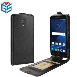 Para Alcatel Verso / Cameox 5044R Louco Grain Cavalo PU Premium Flip Cover Case com Slot Para Cartão