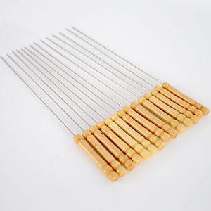 BBQ extérieur pique-nique barbecue brochette bâton rôti aiguille en acier inoxydable avec une poignée en bois barbecue viande brochettes fournitures
