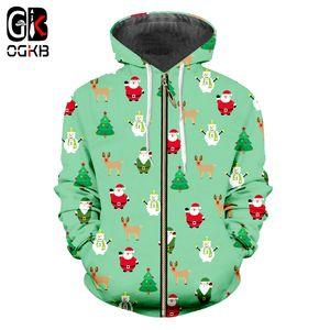OGKB New Man Lovely Manteau 3D imprimé Santa Claus Et bonhomme de neige Mini Tree et Elk Big Size 5XL Hommes Hoodies Zip