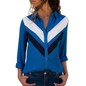 Лоскутное женские рубашки с длинным рукавом моды Turn Down Воротник Блуза вскользь цвет блока Офис Lady Tops