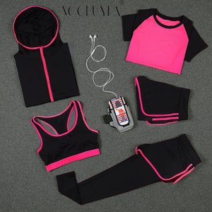 Voobuyla Mujeres Running Sets Deportes Yoga Leggings Camisas Shorts Chaleco Sujetador Chaquetas Hood Tights Ropa Fitness Jogging Suit 5pcs
