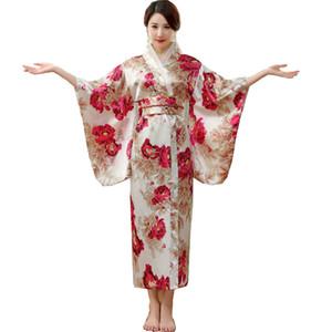Japanese Traditional Women Silk Rayon Kimono Vintage Yukata With Obi Performance Dance Dress Halloween Costume One Size HL03