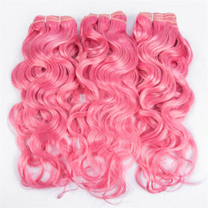 Ofertas virales peruanas de cabello humano ondulado y ondulado de la rosa rosada Ofertas 3 piezas Agua coloreada Onda rosa virgen del cabello humano ondulado teje extensiones