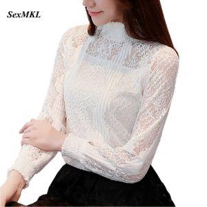 SEXMKL Ladies Lace Hollow Out Top 2018 Sexy Camicette Autunno Manica lunga Camicetta bianca Donna Coreano Camicie ufficio Blusa Feminina