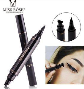 Yeni Bayan Rose Gözler Liner Likit Makyaj Kalem Su geçirmez Siyah Çift uçlu Makyaj Pullar Göz Kalemi