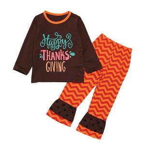 Şükran Bebek kız kıyafetler çocuklar mektup Baskı üst + fırfır şerit Flare pantolon 2pcs / set İlkbahar Sonbahar çocuklar Giyim Setleri