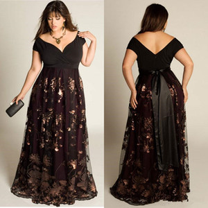 Cheap Plus Size Evening Dresses Sleeves A-Line Off The Shoulder Formal Dress Sequins Appliqued Floor-Length Special Occasion prom Gowns
