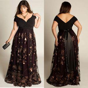 Barato Plus size vestidos de noite mangas a-line fora do ombro vestido formal lantejoulas apliques de chão-comprimento especial ocasião especial vestidos de baile