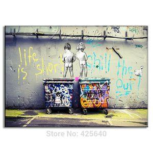 Banksy Graffiti, Impresiones en lienzo Arte de la pared Pintura al óleo Decoración del hogar / (Sin enmarcar / Enmarcado)
