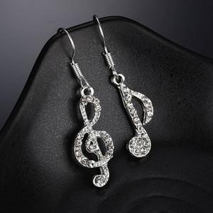 Nova Moda Assimétrica Nota Musical Pingente de Cristal Cheio Charme Dangle Brincos boucle d'oreille Para As Mulheres