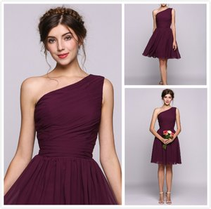 2018 one shoulder Knee Length Party dresses Grape chiffon Short Prom Dresses Cheap 8th College Junior Homecoming Dress for Cocktail Prom