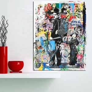 Trasporto libero, dipinto a mano HD stampa moderna astratta Graffiti Pop Art pittura a olio Charlie Chaplin, su tela, Home Deco Wall Art g295