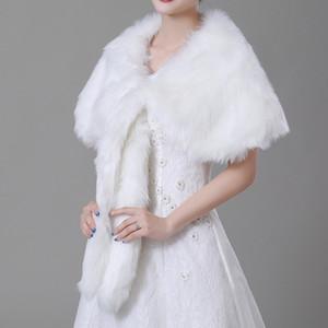 2018 Yeni Ucuz Düğün Gelin sarar Şallar Faux Fur Bej Sonbahar Kış Gelin Aksesuarları Boleros Altında 20 CPA1497
