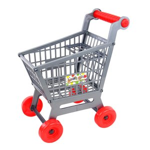 New Miniature Supermarket Shopping Hand Trolley Cart for Kids Role Play Toy Gray Pretend Play Doll House Decor Dolls Accessory
