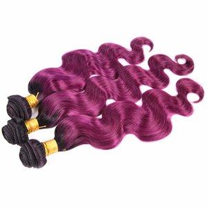 Nueva Llegada Ombre Extensiones de Cabello Púrpura 1B Purple Virgin Hair Bundles Ombre Malasia Onda Del Cuerpo Del Pelo Weft Trama 4 Unids / lote