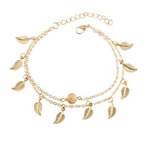 Золото плиссированные листья кисточкой двойной слой ножные браслеты для женщин летний пляж кулон лодыжки браслет длинные ноги цепи свадебные украшения подарок KKA1673