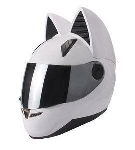 NITRINOS Black Full Face Motorcycle Helmet Personality Cat Helmet Fashion Motorbike Helmet Moto Capacete M /L/XL /XXL