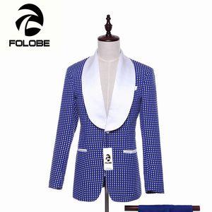 FOLOBE Moda Jacquard Estilo Inglés Blazer Moda Slim Fit Chaqueta Blazer Masculino Traje Traje de los hombres trajes formales chaqueta