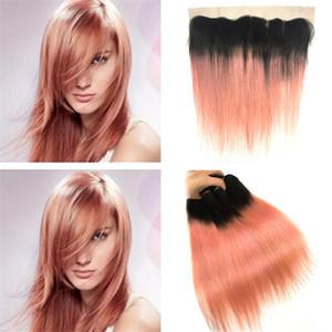 13X4 Frontal ile Düz İnsan saç örgüleri Paketler iki sesi 1B / Rose Gold Ombre ile Rose Gold Pembe Ombre Dantel Frontal Kapanış