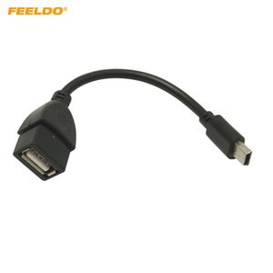 FEELDO 138mm Car Audio CD / DVD 5pin mini USB Macho para USB 2.0 Feminino Cabo de Conexão T Interface OTG Cabo de Dados # 5665
