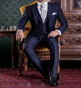 Fashion Navy Blue 3 Piece Suit Groom Tuxedos Notch Lapel Two Button Bridegroom Wedding Suit Men Prom Dinner Blazer(Jacket+Pants+Tie+Vest)433