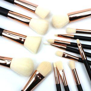 High Quality 15pcs Makeup Brushes Set Professional Soft Rabbit Fiber Cosmetic Brush Set With Nature Contour Powder Makeup Tools