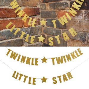 TWINKLE TWINKLE LITTLE STAR con Star Paper Banner Flag Ghirlanda Decorazione per Party Club Kid House Oro e Argento