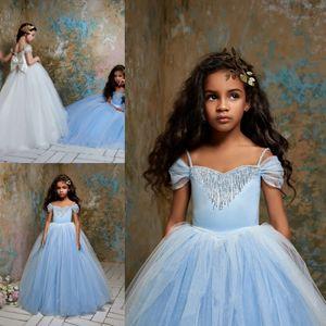 Pentelei 2019 Cinderella Girls Pageant Dresses Spaghetti Off The Shoulder Beaded Princess Kids Flower Girls Dress Birthday Gowns