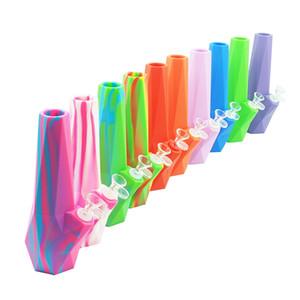 """Diamond Pipes à eau en silicone 10 """"pouces de hauteur Camouflage Pure Silicone Huile Rigs Verre Détachable Diffuse Downstem"""