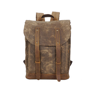 3 colori Zaino Outdoor Canvas Leather Laptop, Vintage Campus casuale scuola viaggio zaino Daypack Con 14 pollici scomparto portatile