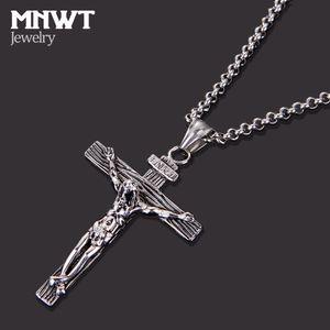 MNWT Croix Collier INRI Crucifix Jésus Pièce Pendentif Or / Argent Antique Couleur En Acier Inoxydable Hommes Chaîne Catholique Bijoux Cadeaux