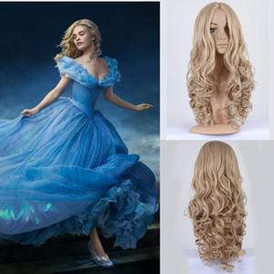 ZF Cinderella косплей парик принцесса косплей 24 дюйма блондинки волос парики хеллоуин костюмы парик вьющиеся волна светло-золотой цвет