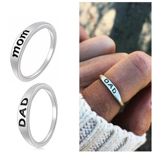 Steel Silver Charms Unisex Finger Rings Mom Dad Letter Engraved Couples Rings anillos mujer Fashion Jewelry For Mother Father's Day Present