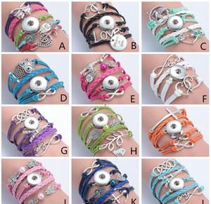 12 Stil DIY Multilayer Weave Leder Noosa Chunk Armband DIY Ingwer Druckknopf Austauschbare Armband Schmuck Großhandel