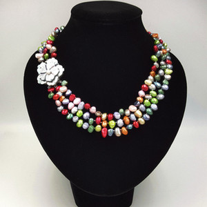 Hand knotted freshwater baroque pearl multicolor 5-7mm 3strand shell flower clasp fashion necklace