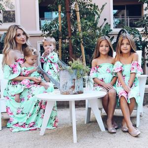 MUQGEW Yaz Aile Eşleştirme Kıyafetler Anne ve Kızı Elbiseler Çiçek Baskı Ruffles Kapalı Omuz Elbise Anne Kızı Elbise