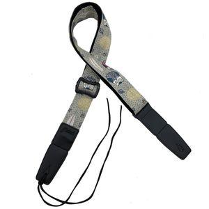 Spallina regolabile Mandolino / Banjo / Ukulele Cinghie multifunzionali in cotone e lino in vera pelle (Gufo grigio)