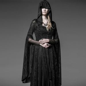 Punk Rave Gothic Long Dress Coat Jacket Cloak Womens Black Visual kei Steampunk Witch Wicca Y510