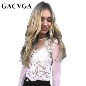 Chemisier en dentelle transparente avec broderies GACVGA Chemisier sexy en maille à manches longues en chemisier blanc 2017