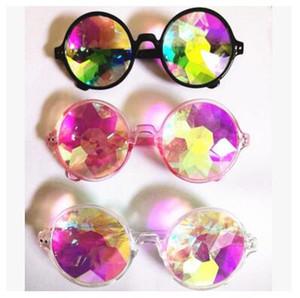 Женщины солнцезащитные очки Мода геометрические Калейдоскоп очки Радуга рейв объектив Bling Bling Призма Кристалл партии дифракции солнцезащитные очки
