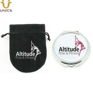 100pcs / lot logotipo personalizado Cosmetic Compact Espelho Com Favors Logo presente Pouch Impresso Prata Rodada bolso Maquiagem Espelho partido