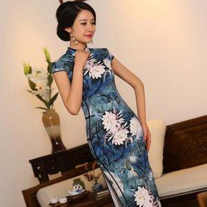 S-3XL chinês Womens Silk Cheongsam Floral Vintage Longo Qipao China Oriental Vestidos Mãe Cheongsams de vento tradicionais nacionais